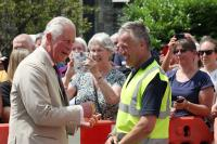 Prince Charles talking to a member of Tavistock Town Council